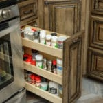 custom kitchen drawer containing spices
