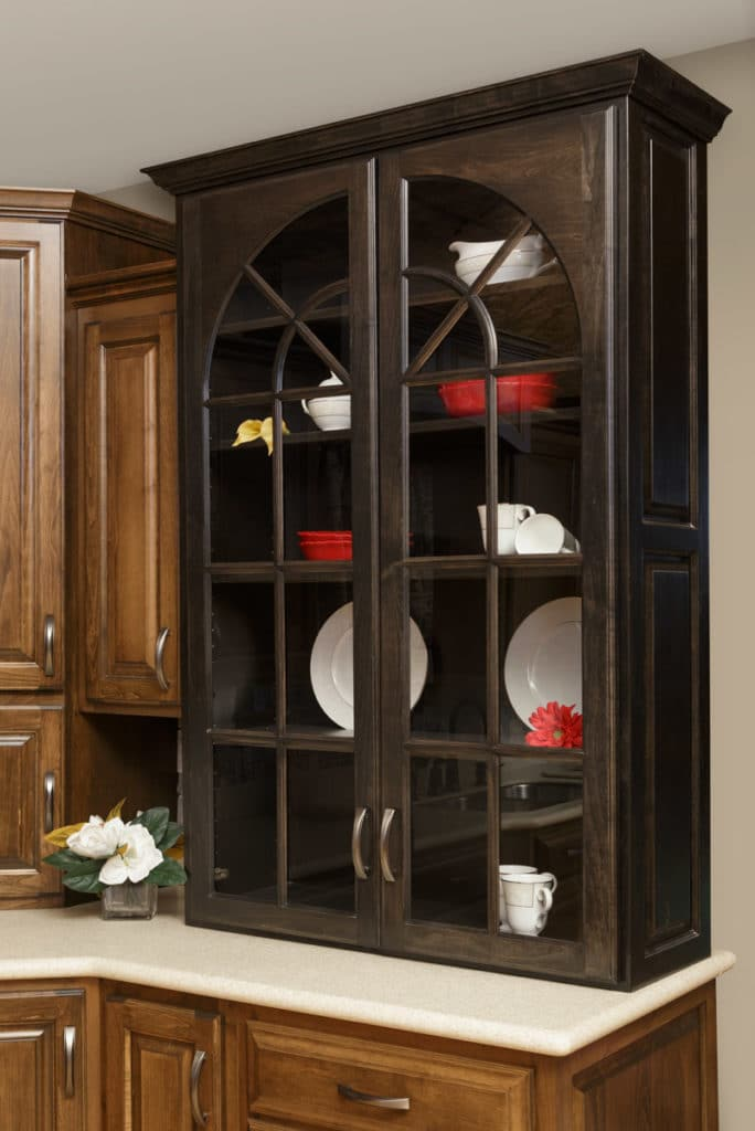 custom kitchen hutch storing plates and cups